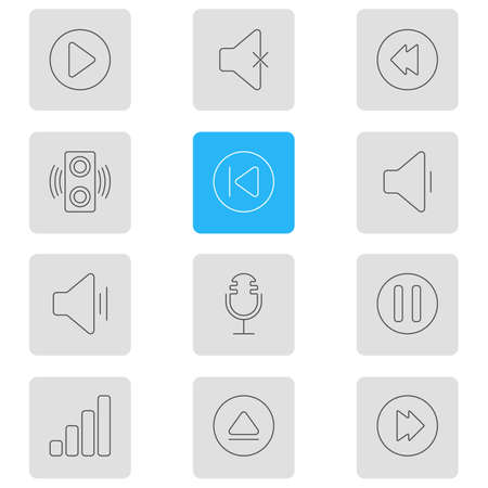 Vector Illustration Of 12 Melody Icons. Editable Pack Of Start, Reversing, Acoustic And Other Elements.