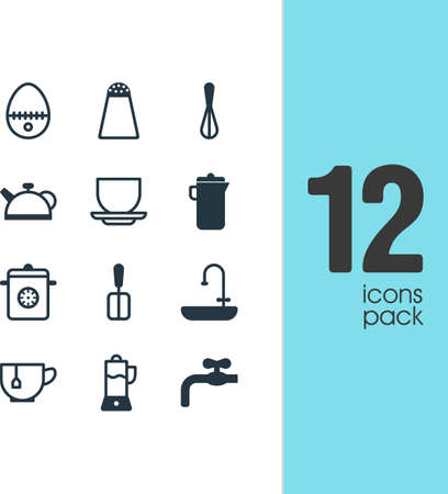 Vector Illustration Of 12 Cooking Icons. Editable Pack Of Steamer, Washstand, Mug Elements.