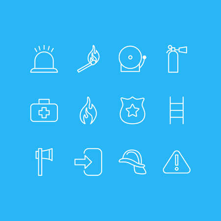 Vector Illustration Of 12 Necessity Icons. Editable Pack Of Door, Safety, Hardhat And Other Elements. Illustration