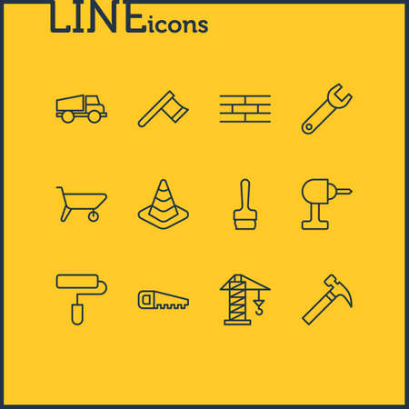 Vector Illustration Of 12 Construction Icons. Editable Pack Of Handcart, Hacksaw, Lifting Elements. Illustration