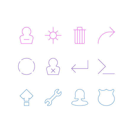 Vector Illustration Of 12 User Icons. Editable Pack Of Remove User, Female User, Startup And Other Elements. Illustration