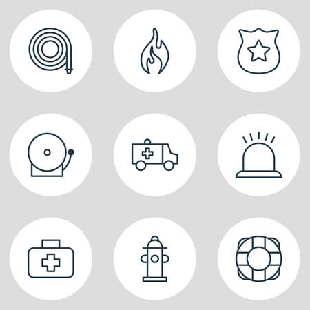 necessity: Vector Illustration Of 9 Necessity Icons. Editable Pack Of Water, Siren, Alarm And Other Elements.