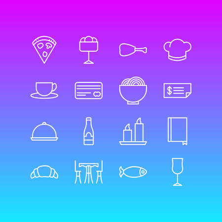 Vector Illustration Of 16 Cafe Icons. Editable Pack Of Pepperoni, Seafood, Account And Other Elements.