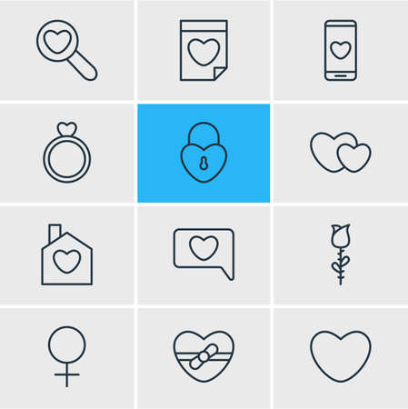 Vector Illustration Of 12 Amour Icons. Editable Pack Of Rose, Hearts, Present And Other Elements. Illustration