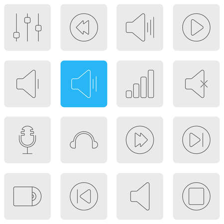 Vector Illustration Of 16 Music Icons. Editable Pack Of Advanced, Earphone, Subsequent And Other Elements. Illustration
