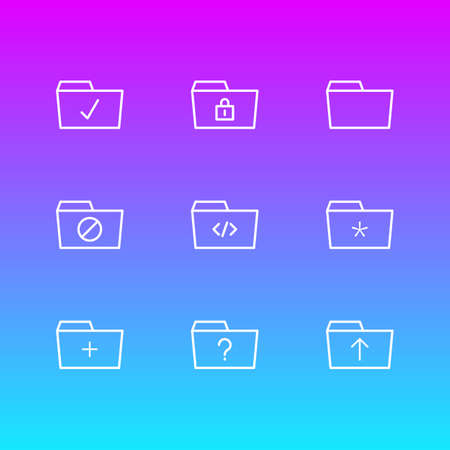 Vector Illustration Of 9 Dossier Icons. Editable Pack Of Plus, Question, Locked And Other Elements. Stock Photo