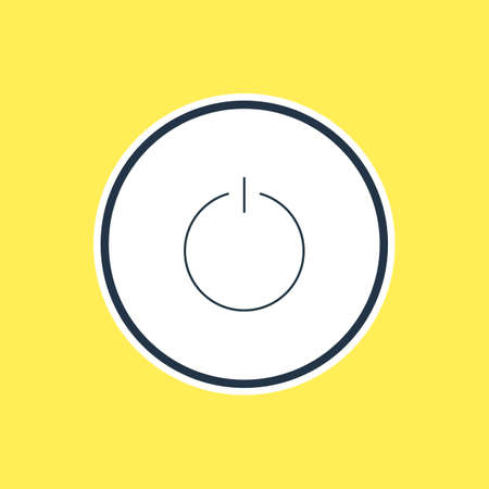 Vector Illustration Of Power Button Outline. Beautiful User Element Also Can Be Used As Switch Off Element.