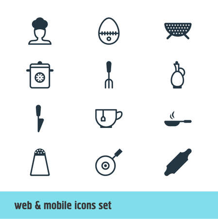 saute: Editable Pack Of Sieve, Pepper Container, Bakery Roller And Other Elements.  Vector Illustration Of 12 Cooking Icons.