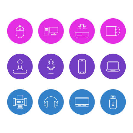 Vector Illustration Of 12 Technology Icons. Editable Pack Of Usb Card, PC, Headset And Other Elements.