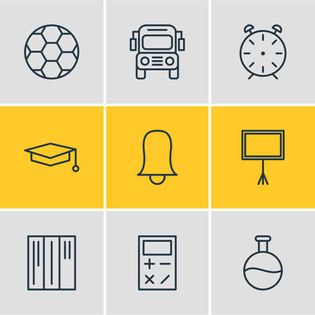 Vector Illustration Of 9 Science Icons. Editable Pack Of Tube, Calculate, Car And Other Elements.
