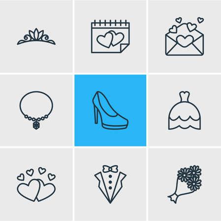 Vektor-Illustration von 9 Verpflichtungs-Ikonen. Editable Pack Of Card, Hochzeitskleid, Schmuck und andere Elemente. Standard-Bild - 82952736