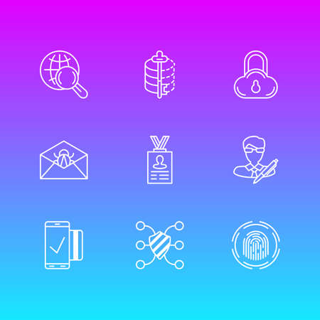 Vector Illustration Of 9 Security Icons. Editable Pack Of Encoder, Easy Payment, Copyright And Other Elements.