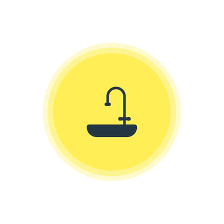 washbowl: Vector Illustration Of Sink Icon. Beautiful Kitchenware Element Also Can Be Used As Washstand Element.
