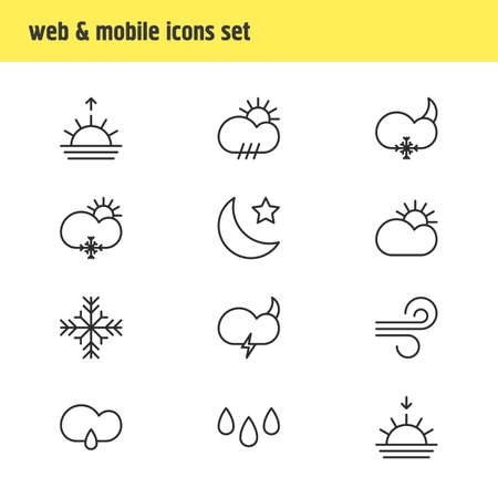 Vector Illustration Of 12 Weather Icons. Editable Pack Of Breeze, Sunset, Sunrise And Other Elements. Illustration