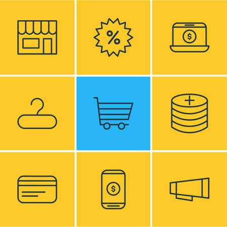 Editable Pack Of Mobile, Trading, Advertising And Other Elements.  Vector Illustration Of 9 Commerce Icons. Illustration