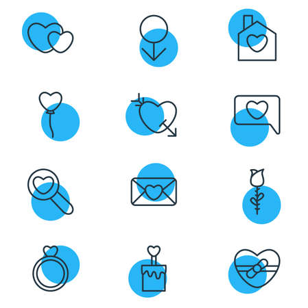 Pack modifiable de Rose, présent, coeurs et autres éléments. Illustration vectorielle de 12 icônes de l'amour.