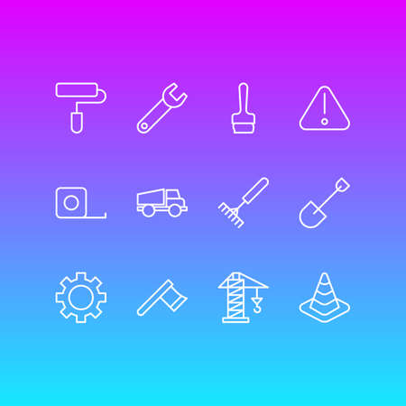 Editable Pack Of Lorry, Spanner, Hatchet And Other Elements.  Vector Illustration Of 12 Structure Icons. Illustration