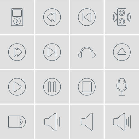 Vector Illustration Of 16 Melody Icons. Editable Pack Of Reversing, Speaker, Preceding And Other Elements.