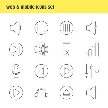subsequent: Vector Illustration Of 16 Melody Icons. Editable Pack Of Subsequent, Rewind, Reversing And Other Elements. Illustration