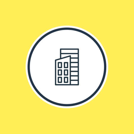 Vector Illustration Of Building Outline. Beautiful Structure Element Also Can Be Used As Apartment Element.