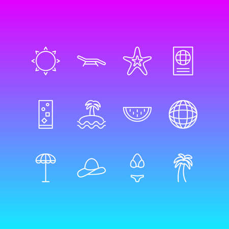 Vector Illustration Of 12 Season Icons. Editable Pack Of Fish, Swimwear, Cocktail And Other Elements.
