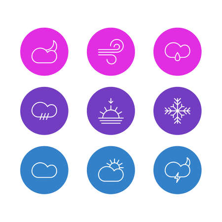 barrage: Vector Illustration Of 9 Sky Icons. Editable Pack Of Sun, Snow, Weather And Other Elements.