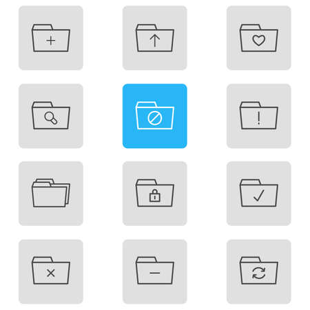 Vector Illustration Of 12 Document Icons. Editable Pack Of Minus, Liked, Locked And Other Elements.