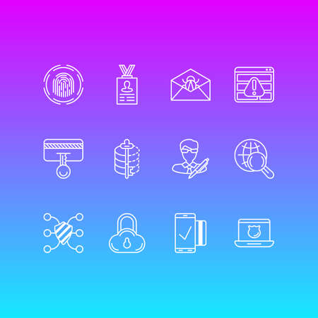 Vector Illustration Of 12 Security Icons. Editable Pack Of Internet Surfing, Finger Identifier, Encoder And Other Elements.