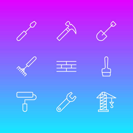 Vector Illustration Of 9 Construction Icons. Editable Pack Of Spade, Harrow, Paintbrush And Other Elements.