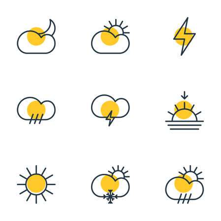barrage: Vector Illustration Of 9 Sky Icons. Editable Pack Of Fulminant, Rainy, Lightning And Other Elements.