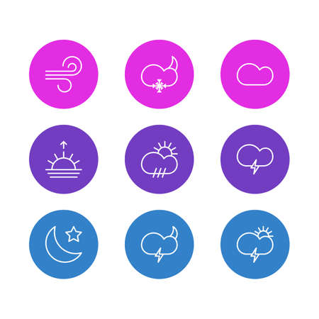 Vector Illustration Of 9 Atmosphere Icons. Editable Pack Of Rain, Weather, Sunset And Other Elements.