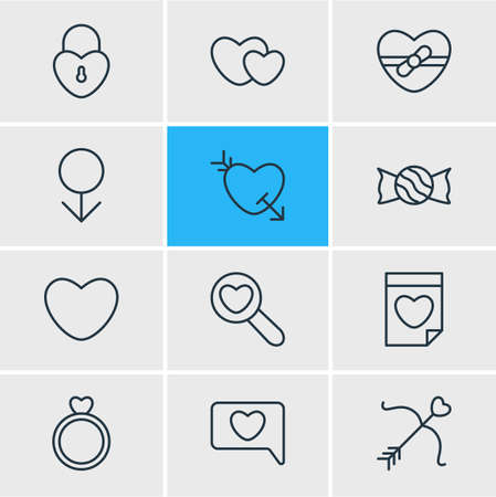 Vector Illustration Of 12 Passion Icons. Editable Pack Of Messenger, Magnifier, Engagement And Other Elements.