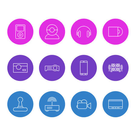 Vector Illustration Of 12 Gadget Icons. Editable Pack Of Smartphone, Loudspeaker, Dvd Drive And Other Elements.
