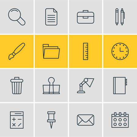 Vector Illustration Of 16 Stationery Icons. Editable Pack Of Paint, Zoom, Letter And Other Elements.