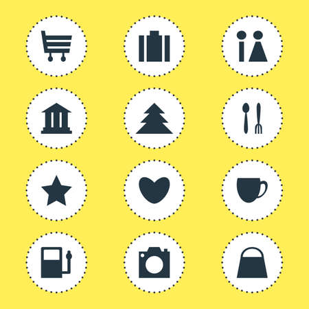 Vector Illustration Of 12 Map Icons. Editable Pack Of Bookmark, Photo Device, Briefcase And Other Elements.
