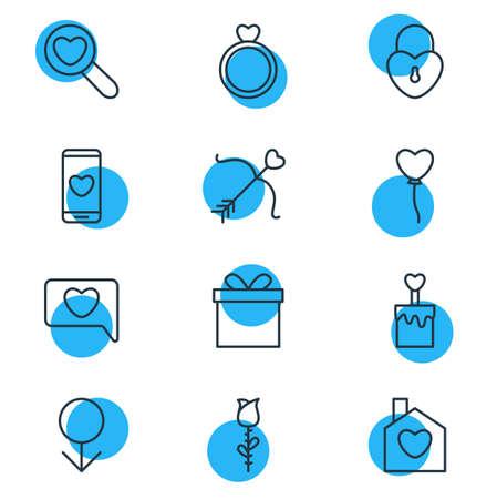 Ilustración vectorial de 12 iconos Amour. Pack editable de rosa, lupa, hogar y otros elementos. Vectores