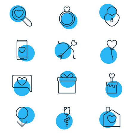 pareja comiendo: Vector Illustration Of 12 Amour Icons. Editable Pack Of Rose, Magnifier, Home And Other Elements.