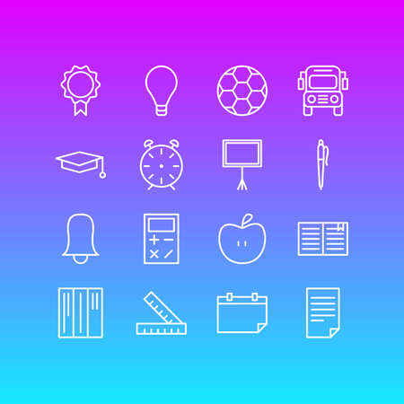 Vector Illustration Of 16 Science Icons. Editable Pack Of Car, Date, Bulb And Other Elements. Illustration