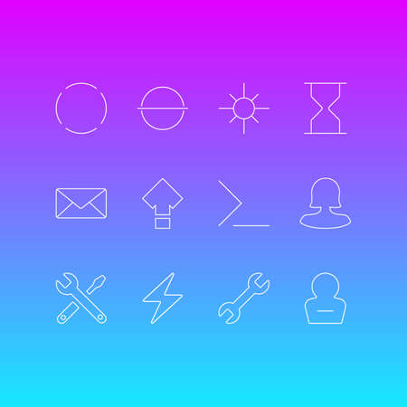 Vector Illustration Of 12 Interface Icons. Editable Pack Of Startup, Wrench, Remove And Other Elements.