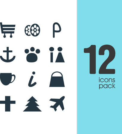 Vector Illustration Of 12 Check-In Icons. Editable Pack Of Film, Aircraft, Shopping Cart And Other Elements.