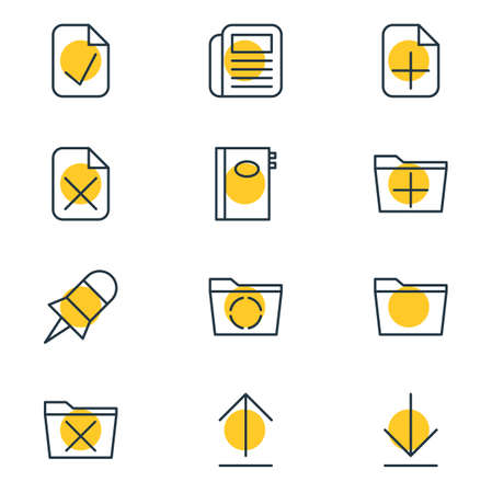 tack: Vector Illustration Of 12 Office Icons. Editable Pack Of Downloading, Install, Journal And Other Elements.