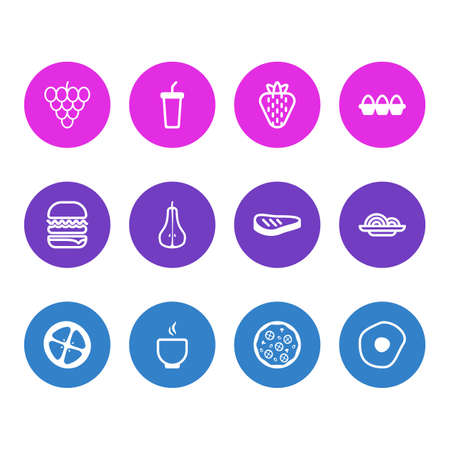 Editable Pack Of Container, Sandwich, Pizzeria Elements.  Vector Illustration Of 12 Food Icons. Illustration