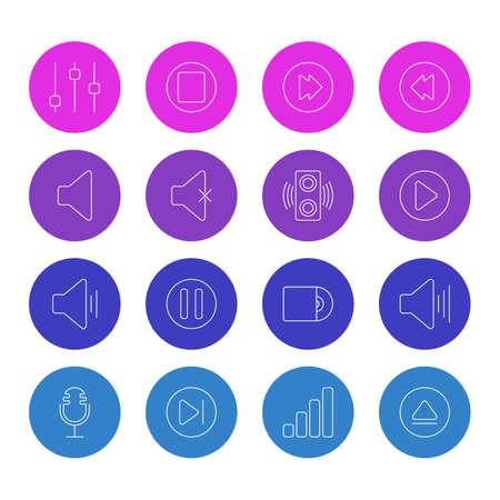 Pack modificabile di acustica, amplificatore, inizio e altri elementi. Illustrazione vettoriale di 16 icone musicali.
