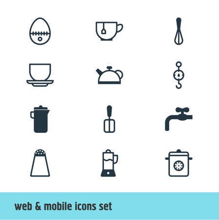steelyard: Editable Pack Of Fruit Squeezer, Pepper Container, Steamer And Other Elements.  Vector Illustration Of 12 Restaurant Icons.