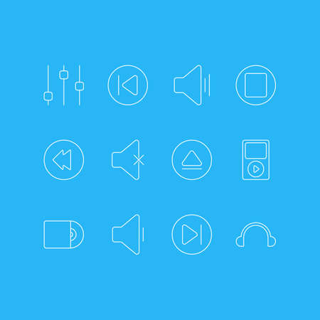 Vector Illustration Of 12 Music Icons. Editable Pack Of Preceding, Rewind, Decrease Sound And Other Elements.