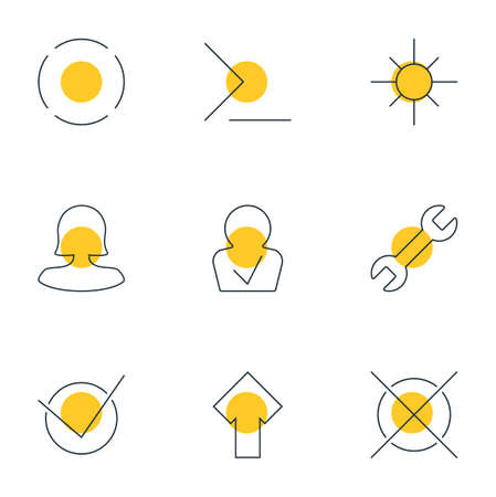 llave de sol: Vector Illustration Of 9 User Icons. Editable Pack Of Startup, Repeat, Approved Profile And Other Elements.