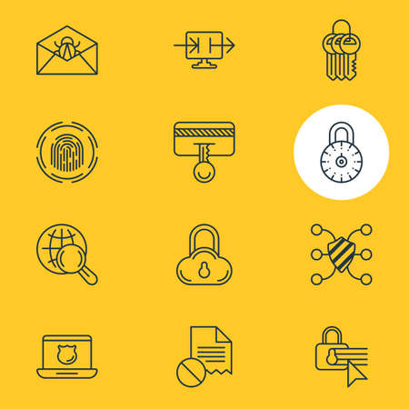 Vector Illustration Of 12 Protection Icons. Editable Pack Of Send Information, Confidentiality Options, Finger Identifier And Other Elements.
