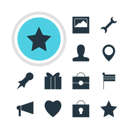 Vector Illustration Of 12 Online Icons. Editable Pack Of Thumbtack, Settings, Portfolio And Other Elements. Ilustração