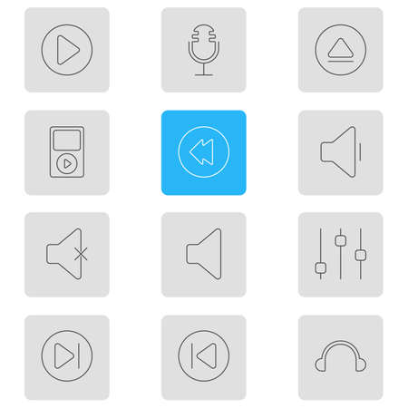 Vector Illustration Of 12 Melody Icons. Editable Pack Of Soundless, Earphone, Reversing And Other Elements.