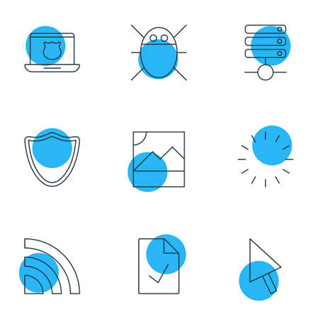 web directories: Vector Illustration Of 9 Internet Icons. Editable Pack Of Pointer, Wireless Network, Computer Virus And Other Elements.